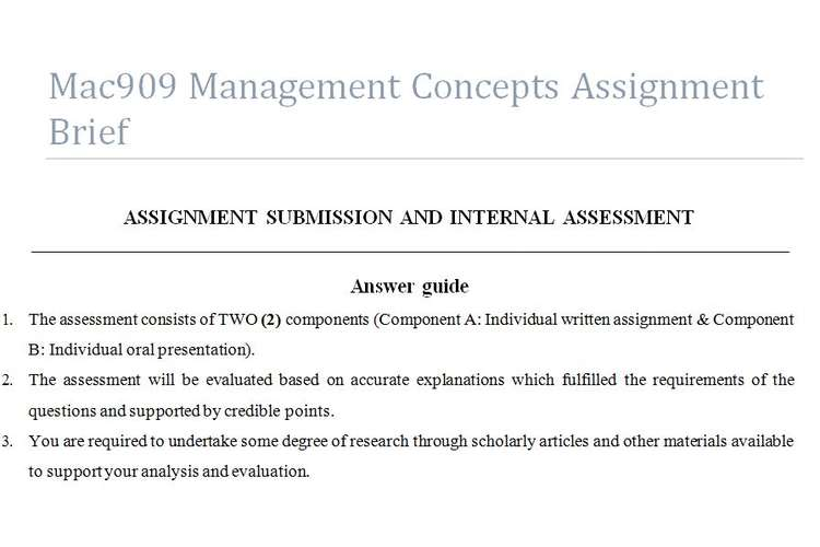 Mac909 Management Concepts Assignment Brief