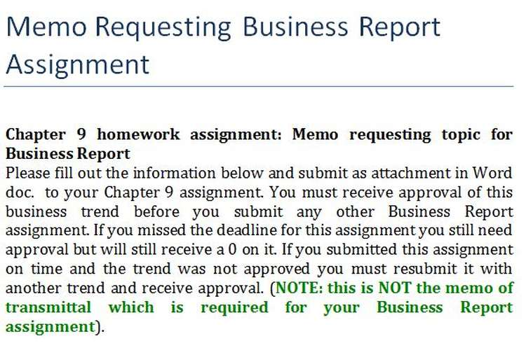 Memo Requesting Business Report Assignment