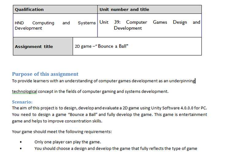 Computer Games Design and Development Assignment Brief