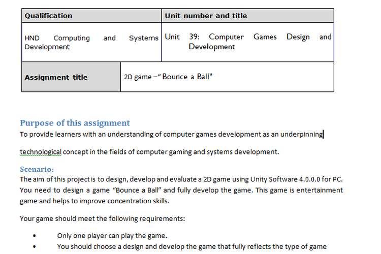 Unit 39 Computer Games Design And Development Assignment