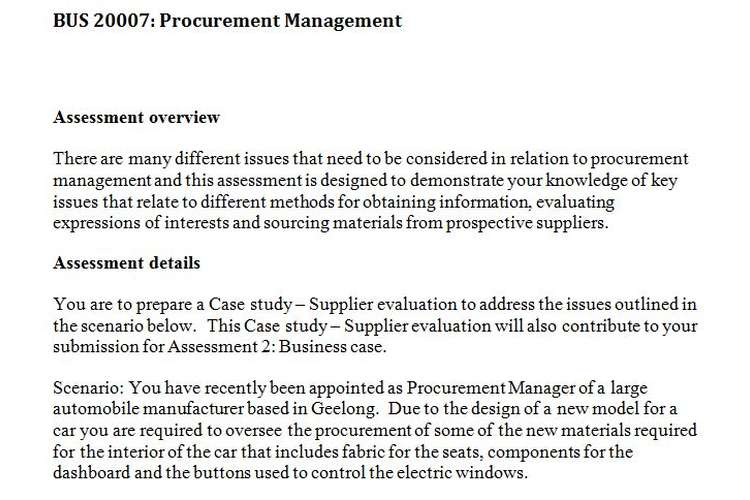 BUS20007 Procurement Management Assignment Questions