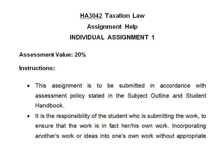 HA3042 Taxation Law Assignment