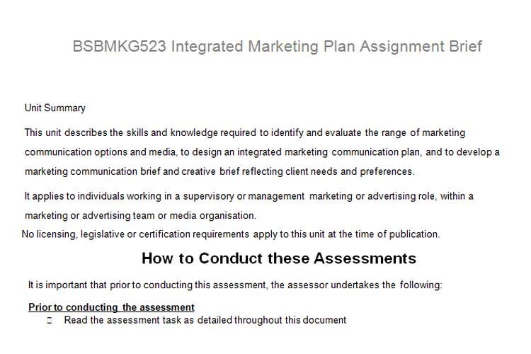 Integrated Marketing Plan Assignment Brief