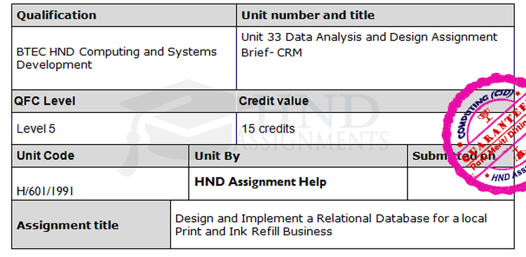 Data Analysis and Design Assignment Brief CRM