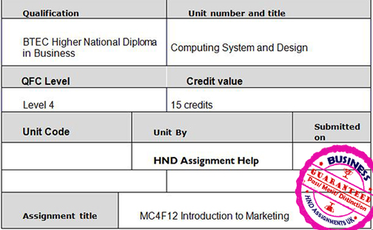 MC4F12 Introduction to Marketing Assignment