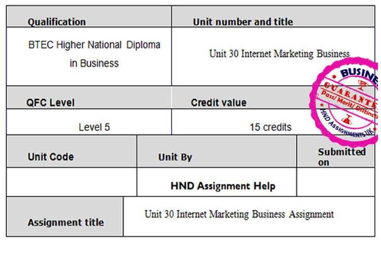 Unit 30 Internet Marketing Business Assignment