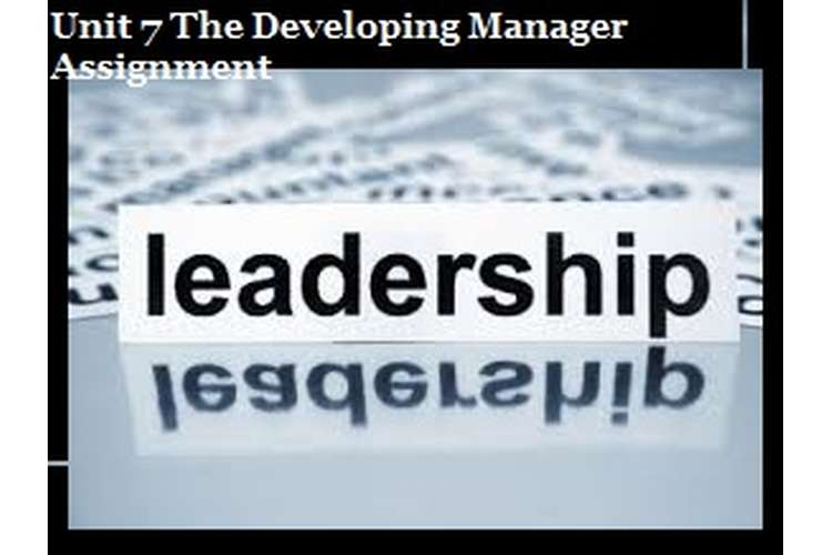 Unit 7 The Developing Manager Assignment