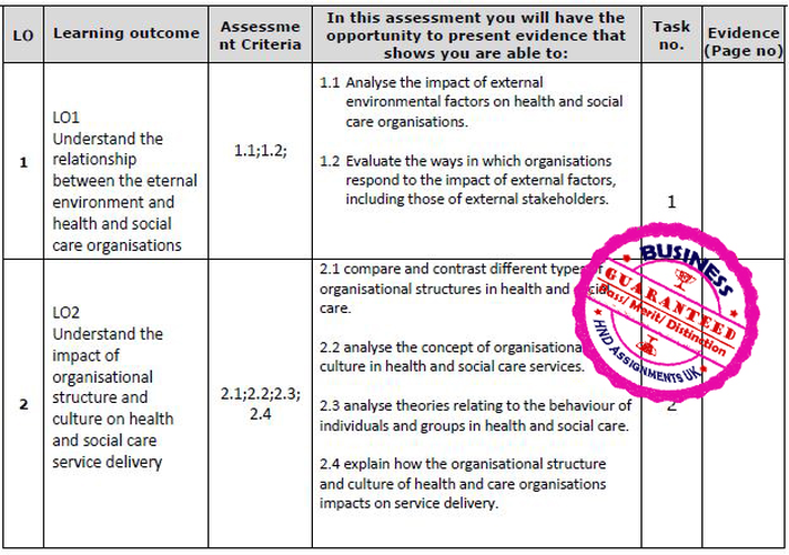 Unit 25 Influences on HSC Organisations Assignment