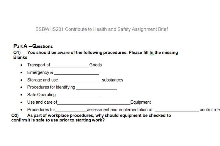Contribute Health Safety Assignment Brief