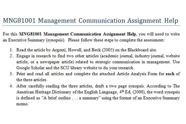 MNG81001 Management Communication Assignment Help