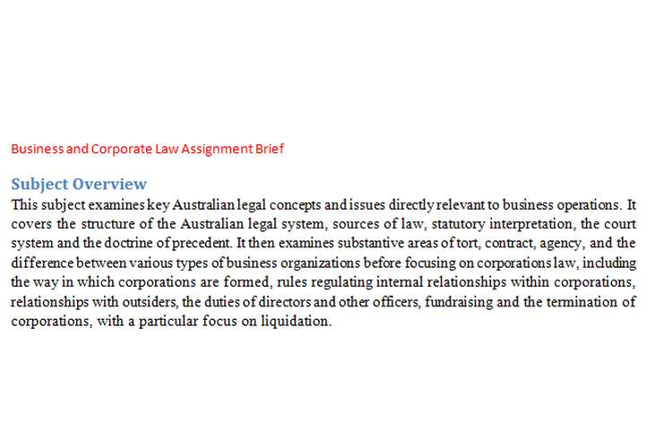 Business and Corporate Law Assignment Brief