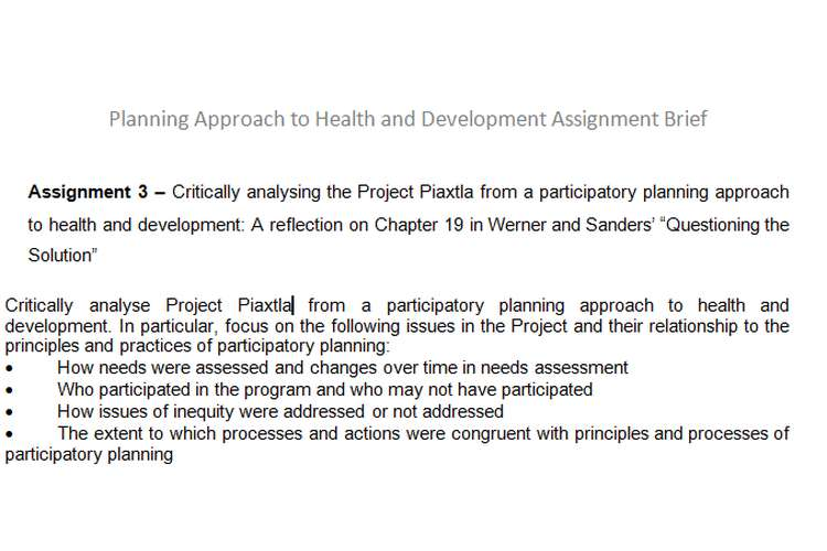 Planning Approach Health Development Assignment Brief