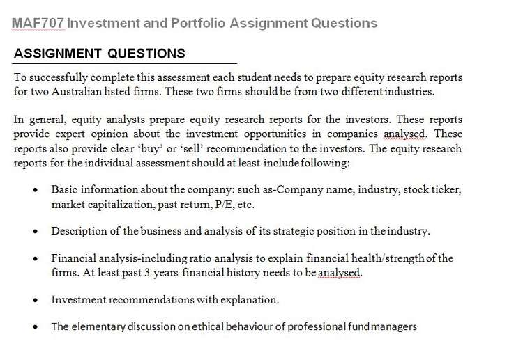 MAF707 Investment Portfolio Assignment Questions