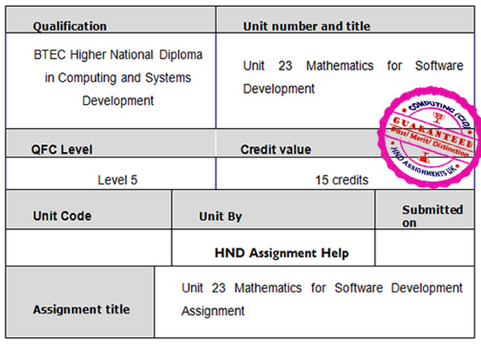 Unit 23 Mathematics for Software Development Assignment