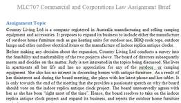 MLC707 Commercial Corporations Law Assignment Brief