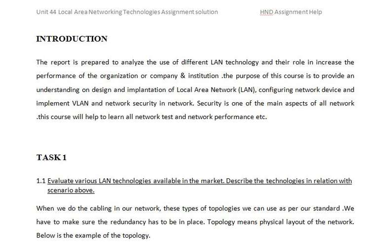 Unit 44 Local Area Networking Technologies Assignment solution