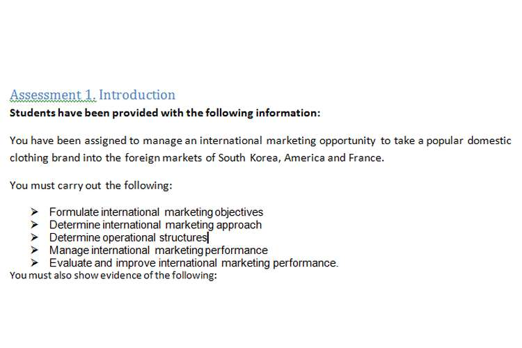 Manage International Marketing Assignment Brief