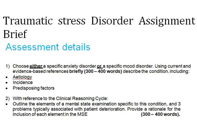 Traumatic stress Disorder Assignment Brief