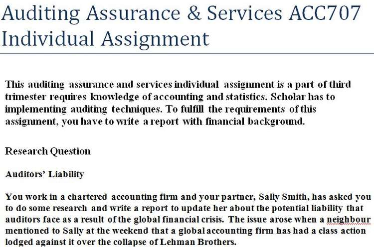 Auditing Assurance Services ACC707 Individual Assignment