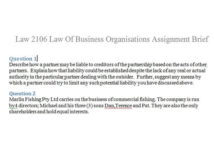 Law2106 Law of Business Organisations Assignment Brief