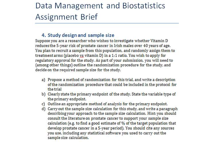 Data Management and Biostatistics Assignment Brief