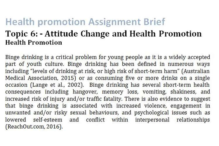 Health promotion Assignment Brief