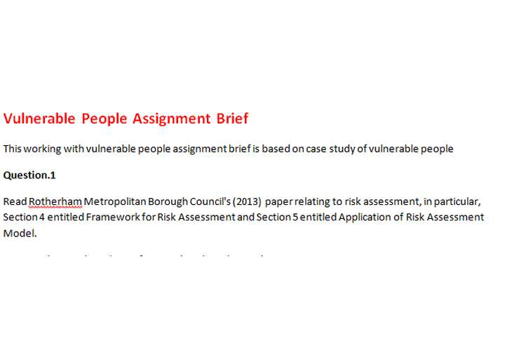 Vulnerable People Assignment Brief