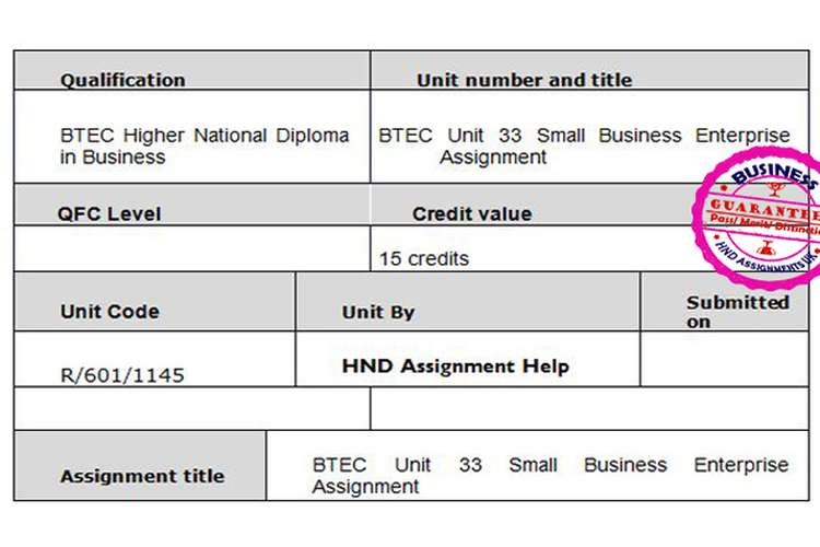 btec unit small business enterprise assignment hnd help