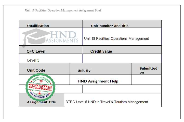 Facilities Operations Management Assignment Brief