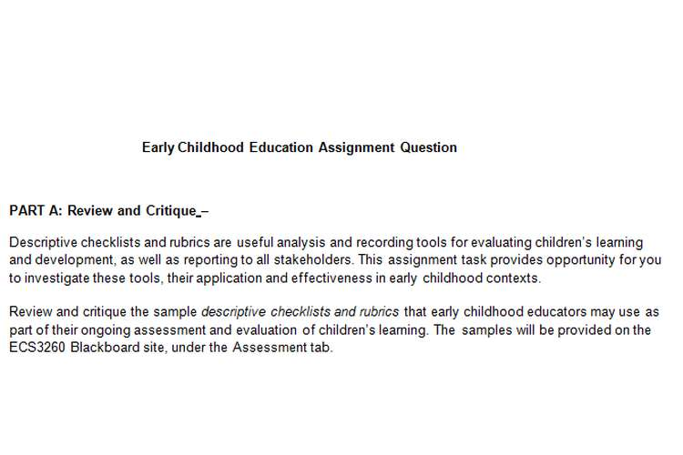 Early Childhood Education Assignment Question