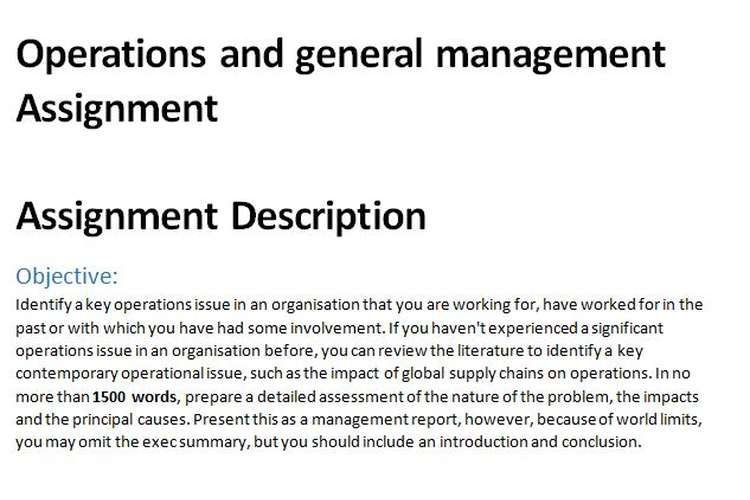 Operations general management Assignment