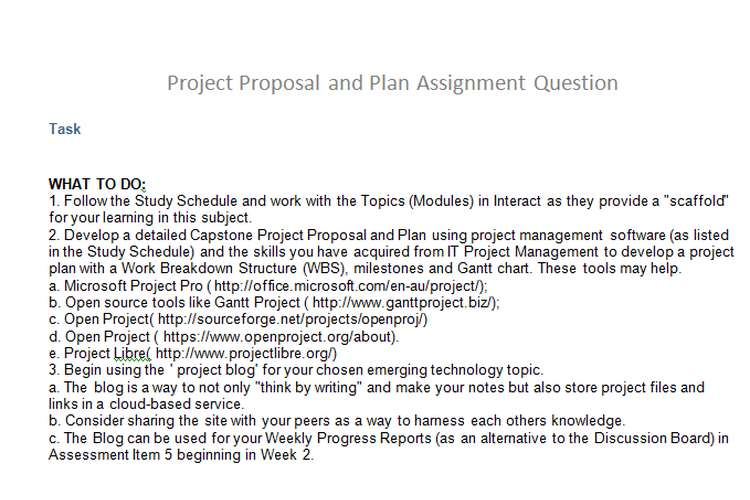 Project Proposal Plan Assignment Question