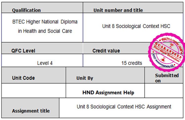 Unit 8 Sociological Context HSC Assignment