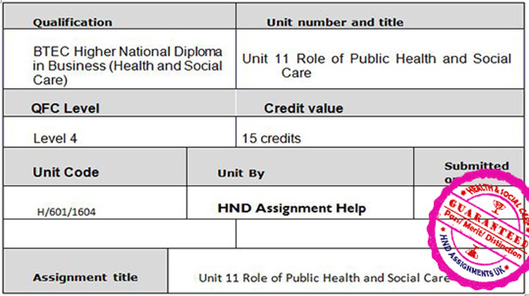 Unit 11 Role of Public Health and Social Care Assignment Brief