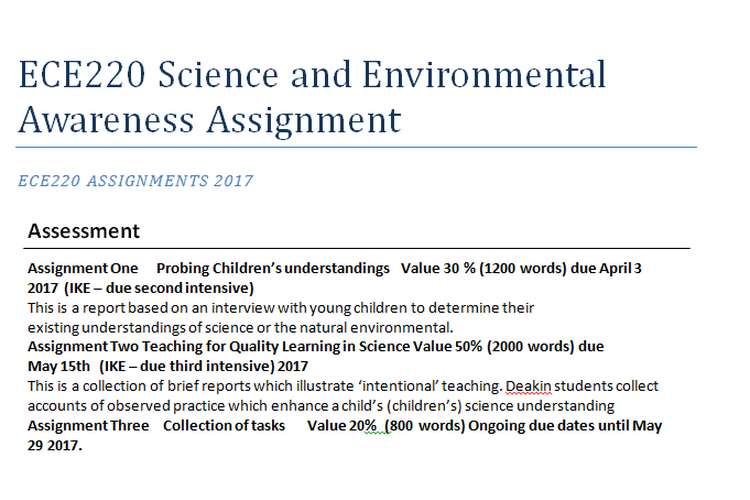 ECE220 Science and Environmental Awareness Assignment Help