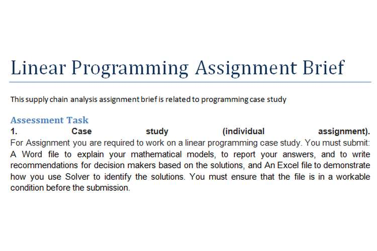 Linear Programming Assignment Brief