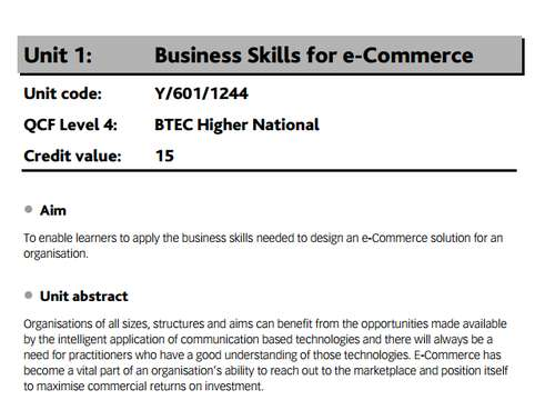 Business Skills e-Commerce
