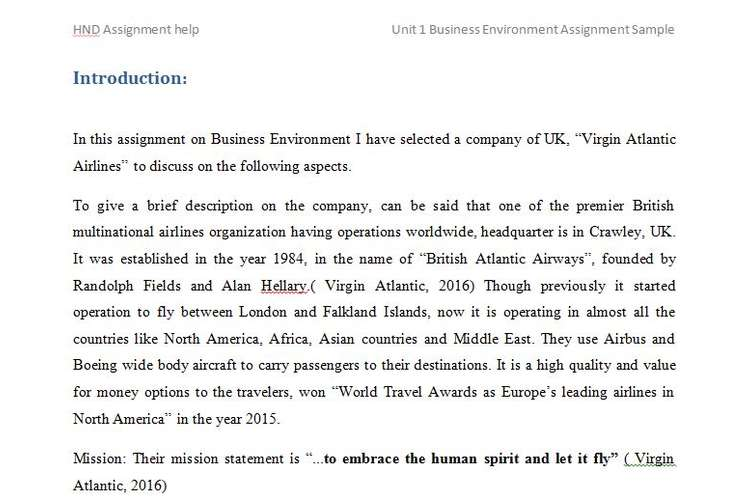 Unit 1 Business Environment Assignment Sample
