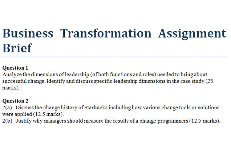 Business Transformation Assignment Brief