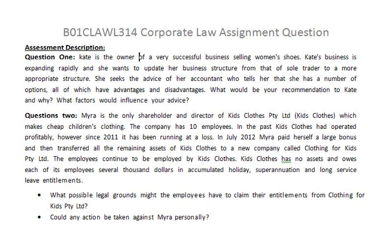 B01CLAWL314 Corporate Law Assignment Question