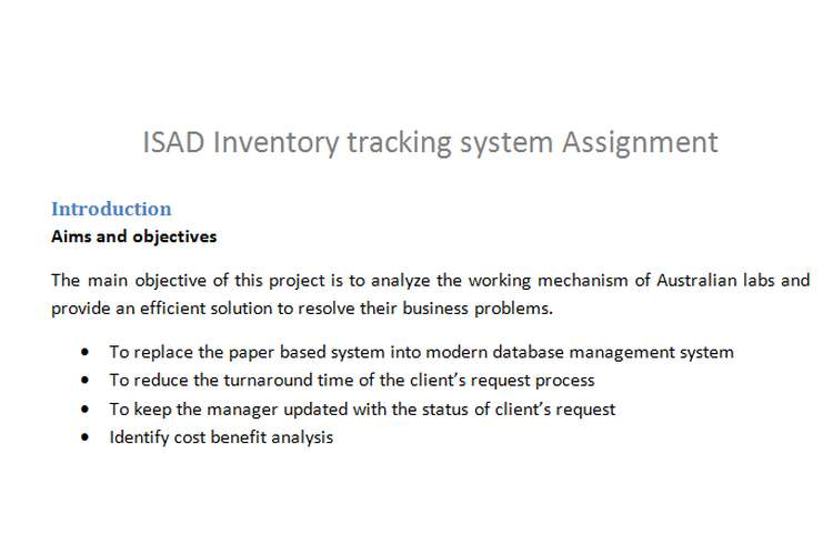 ISAD Inventory tracking system Assignment