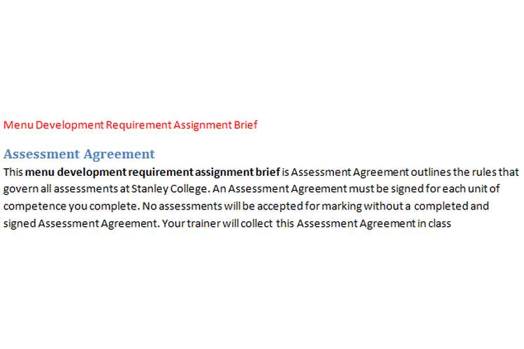 Menu Development Requirement Assignment Brief