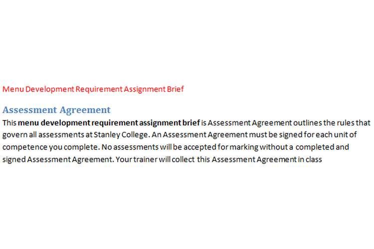 Menu Development Requirement Assignment Brief
