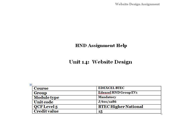 Unit 14 Website Design Sample Assignment