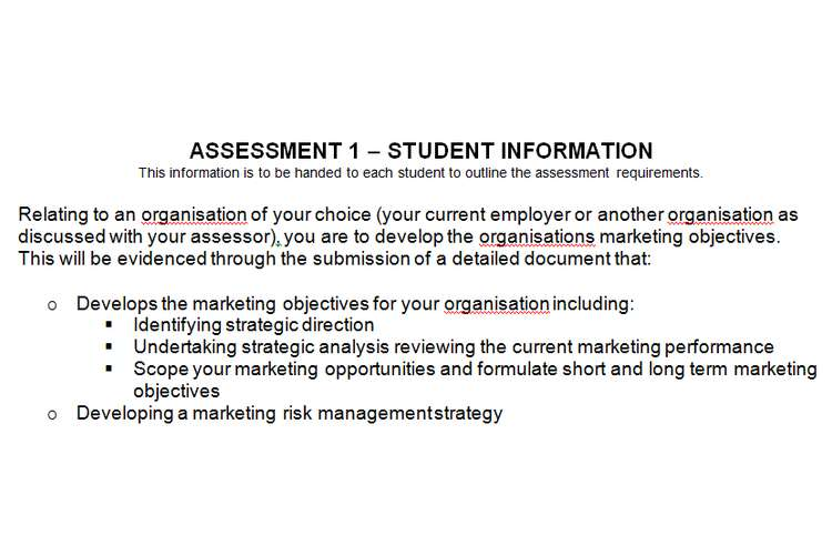 BSBMKG608 Develop organizational marketing objectives Assignment Brief