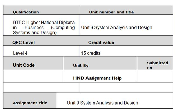 Unit 9 System Analysis and Design Assignment