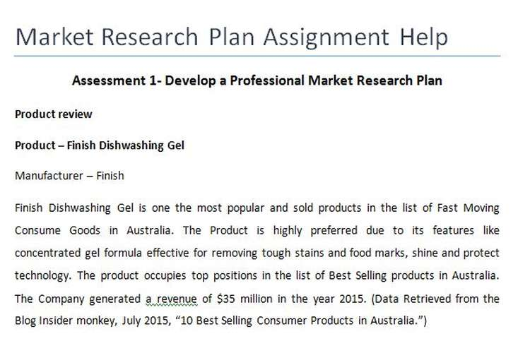 Market Research Plan Assignment Help