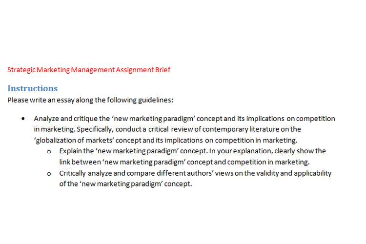 Strategic Marketing Management Assignment Brief