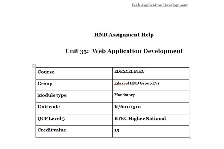 Unit 35 Web Application Development Assignment