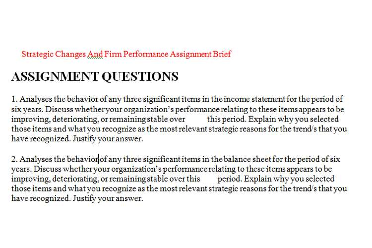 Strategic Changes And Firm Performance Assignment Brief